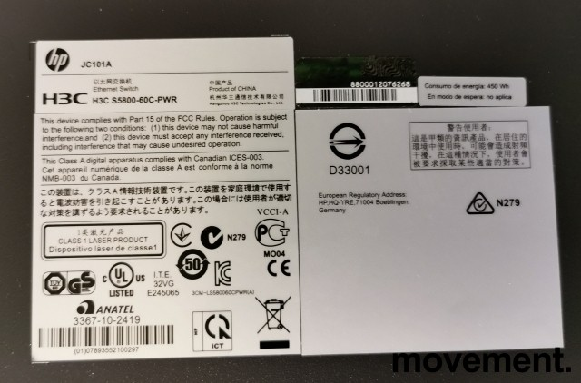 Hewlett-Packard HPE A5800 Managed 48port switch JC101A, med 4+2 10Gb uplink, pent brukt bilde 4