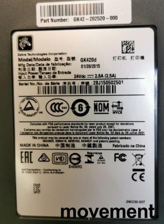 Zebra EDI-skriver / etikettskriver GK420d med USB, NY I ESKE bilde 4