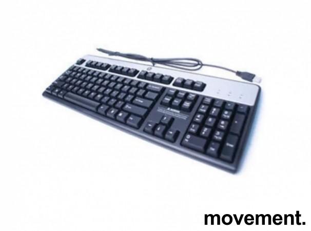 Originalt HP / Hewlett-Packard tastatur, Modell JB, Norsk layout, modellkode 434821-092, sort/sølv, USB, NYTT bilde 1