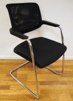Konferansestol fra Brunner i sort stoff / sort mesh / krom, modell too2.0, pent brukt
