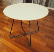 Loungebord / sofabord i hvitt / sort, Ø=60cm, høyde 47cm, pent brukt