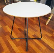 Loungebord / sofabord i hvitt / sort, Ø=60cm, høyde 57cm, pent brukt