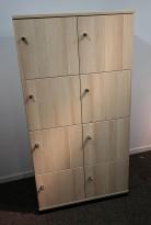 Lukeskap / personlig skap fra Kinnarps i eik laminat, bredde 80cm, 8 luker med hasp for hengelås, pent brukt