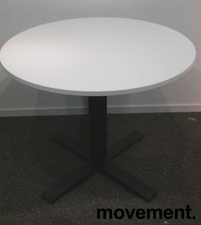Lite møtebord / kantinebord, Kinnarps Oberon i hvitt / sort, Ø=90cm, pent brukt bilde 1