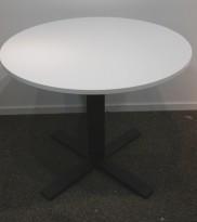 Lite møtebord / kantinebord, Kinnarps Oberon i hvitt / sort, Ø=90cm, pent brukt
