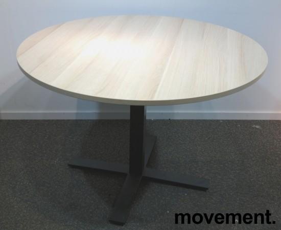Rundt møtebord med bordplate i eik laminat, Kinnarps Oberon, Ø=110cm, H=72cm, sort understell, pent brukt bilde 1