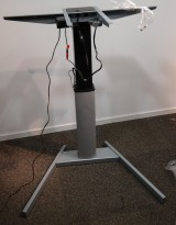 Understell for skrivebord med elektrisk hevsenk, ettpunkts i grått, passer små plater, pent brukt