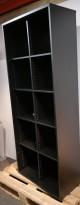 Bokhylle / ringpermreol i sort fra AJ produkter, 5 permhøyder, bredde 80cm, høyde 200cm, pent brukt
