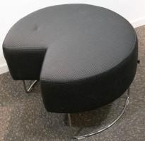 VAD Pivot rund puff / puffmodul i gråmønstret stoff, Ø=68cm, pent brukt