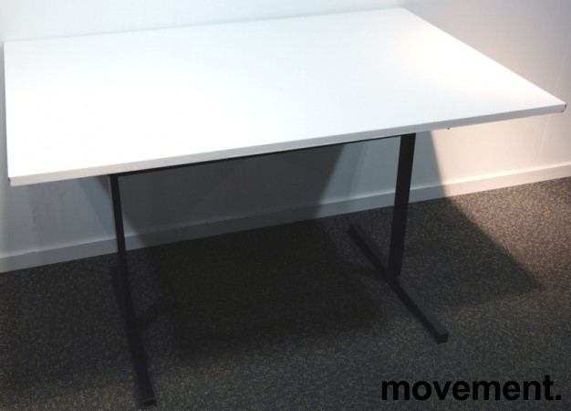 Kompakt møtebord / kantinebord i hvitt / sort, 120x80cm, brukt med slitasje bilde 2