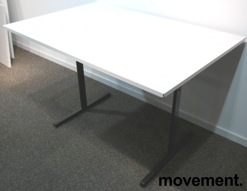 Kompakt møtebord / kantinebord i hvitt / sort, 120x80cm, brukt med slitasje bilde 4