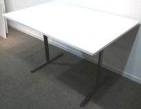 Kompakt møtebord / kantinebord i hvitt / sort, 120x80cm, brukt med slitasje