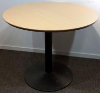 Rundt møtebord / kantinebord i bøk laminat / sort, Ø=90cm, H=72cm, pent brukt