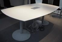 Møtebord i hvitt / grålakkert metall, 200x116cm, passer 6-8personer, pent brukt