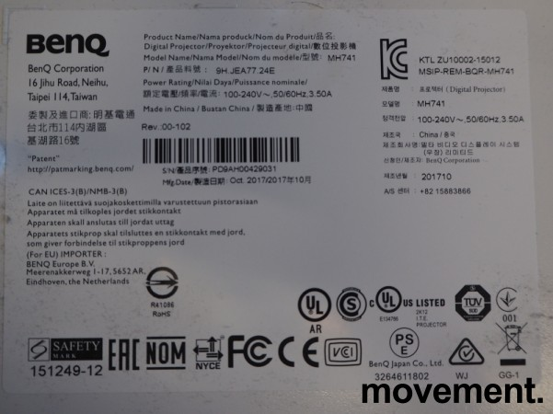 Benq MH741 projektor, full HD, HDMI, 2014 timer på pære, pent brukt bilde 3