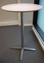 Ståbord / barbord fra Ikea, modell Billsta, Hvit, rund plate, Ø=70cm, H=105,5cm, pent brukt
