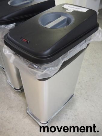 Søppelbøtte / kildesortering for restavfall / papir etc. i rustfritt stål / sort fra Vileda, inkl tralle, pent brukt bilde 1