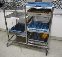 Oppvasktralle i rustfritt stål, 5 hyller for oppvaskbakker, pent brukt