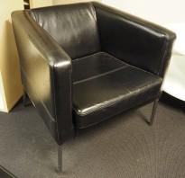 Loungestol / lenestol fra IKEA, Klappsta i sort skinn, pent brukt