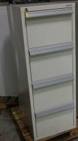 Fossafe / Hadak 4 skuffers brannskap / brannsikkert arkivskap, 143cm høyde, 53cm bredde, grått, pent brukt