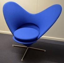 "Vitra / Verner Panton ""Heart cone chair"", hjertestolen i blått stoff, pent brukt"