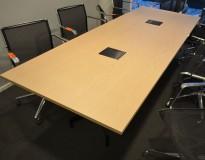 Lekkert møtebord / konferansebord i hvitpigmentert eik / sort, 260x100cm, passer 8-10 personer, pent brukt