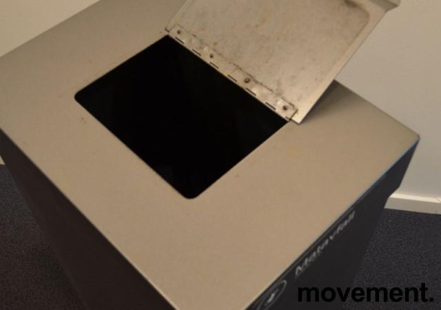 Søppelbøtte / kildesortering for matavfall i grålakkert metall fra Røros produkter på hjul, pent brukt bilde 2
