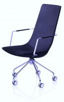 Lammhults konferansestol på hjul i marineblått stoff / krom, Comet XL-serie, pent brukt