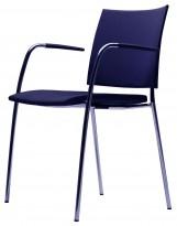 Lammhults konferansestol i marineblått stoff / krom, Spira-serie, armlene, pent brukt