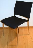 Lammhults konferansestol i marineblått stoff / krom, Spira-serie, pent brukt