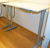 Kinnarps T-serie elektrisk hevsenk skrivebord 160x80cm i hvitt, pent brukt