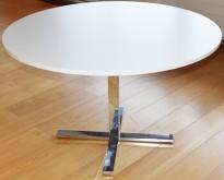 Rundt møtebord fra Ragnars R5 Work.Meeting serie i hvitt/krom, Ø=120cm, pent brukt