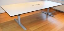 Møtebord i hvitt med sort kant, 300x120cm, Ragnars R5 Work, kabelluke, for 10-12 personer, pent brukt