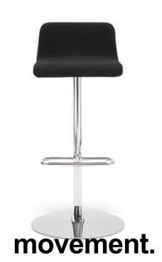 Barstol / barkrakk fra Offecct i sort skinn / krom, Modell Mono Light, 80cm sittehøyde, pent brukt bilde 1