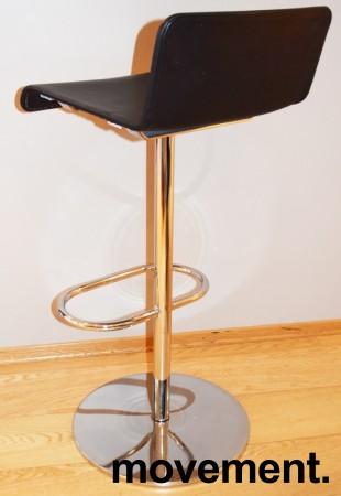 Barstol / barkrakk fra Offecct i sort skinn / krom, Modell Mono Light, 80cm sittehøyde, pent brukt bilde 3