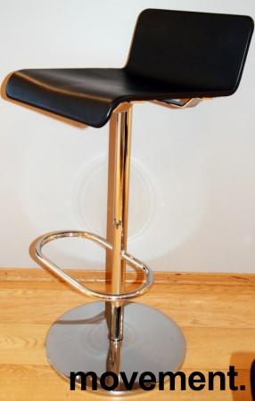 Barstol / barkrakk fra Offecct i sort skinn / krom, Modell Mono Light, 80cm sittehøyde, pent brukt bilde 2