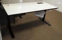 Skrivebord med elektrisk hevsenk i hvitt / sort fra Svenheim, 160x80cm, pent brukt