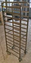 GN-tralle / brett-tralle på hjul fra Team Rustfritt for 12 brett, pent brukt