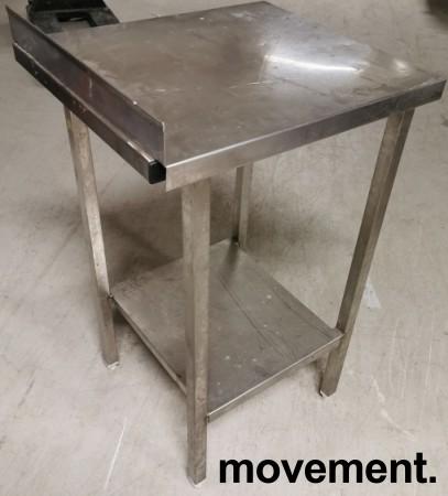 Liten arbeidsbenk / sidebord i rustfritt stål, 48x55,5cm, 87/93cm høyde, pent brukt bilde 2
