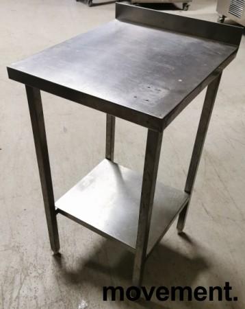 Liten arbeidsbenk / sidebord i rustfritt stål, 48x55,5cm, 87/93cm høyde, pent brukt bilde 1