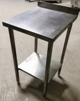 Liten arbeidsbenk / sidebord i rustfritt stål, 48x55,5cm, 87/93cm høyde, pent brukt