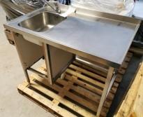 Arbeidsbenk i rustfritt stål 110cm bredde, 65cm dybde, 90cm høyde, kum på v.s, pent brukt