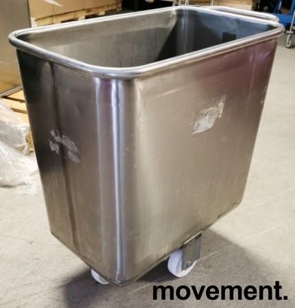 Tralle i rustfritt stål til mel / tørrvare, bakeritralle, tørrvaretralle, 41x75x77cm, pent brukt bilde 1
