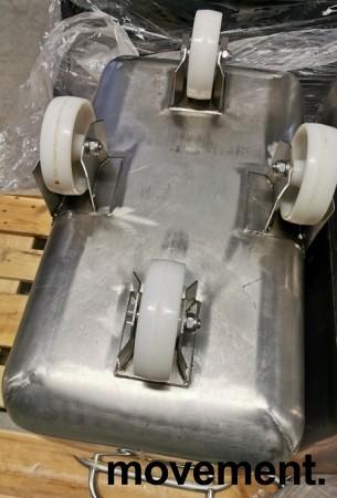 Tralle i rustfritt stål til mel / tørrvare, bakeritralle, tørrvaretralle, 41x75x77cm, pent brukt bilde 5