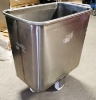 Tralle i rustfritt stål til mel / tørrvare, bakeritralle, tørrvaretralle, 41x75x77cm, pent brukt