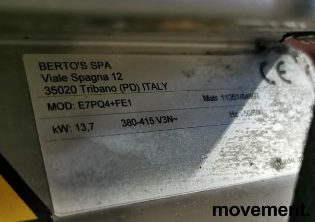 Koketopp for storkjøkken: Bertos komfyr 4 soner, stekeovn under, 13,7kW 400V, pent brukt bilde 5