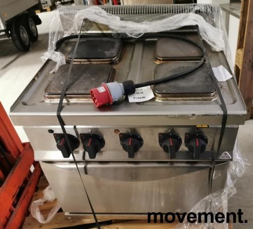 Koketopp for storkjøkken: Bertos komfyr 4 soner, stekeovn under, 13,7kW 400V, pent brukt bilde 2