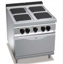 Koketopp for storkjøkken: Bertos komfyr 4 soner, stekeovn under, 13,7kW 400V, pent brukt