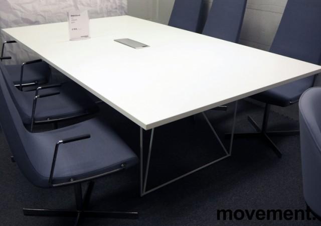 Møtebord AIR i hvitt 220x130cm med kabelluke, 6-8 personer, pent brukt bilde 1