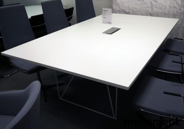 Møtebord AIR i hvitt 220x130cm med kabelluke, 6-8 personer, pent brukt bilde 2